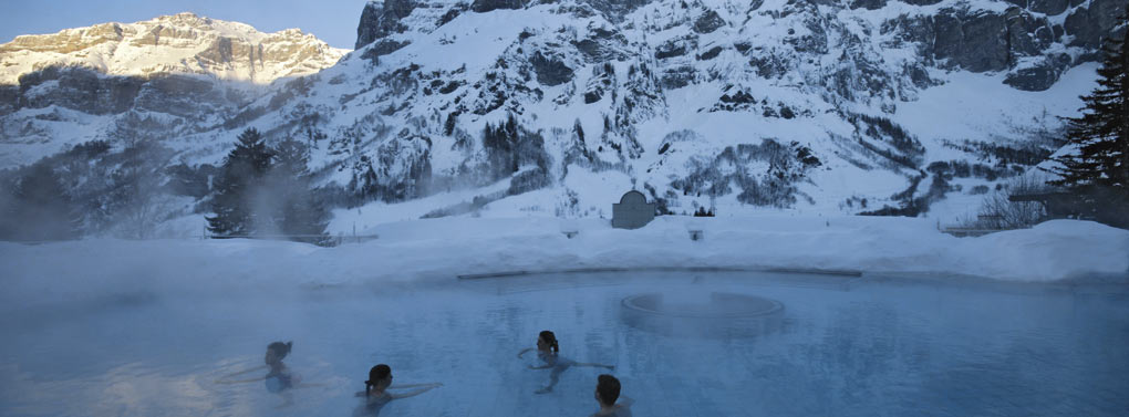 Leukerbad thermal baths winter