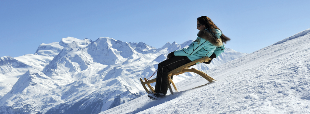 woman sledging